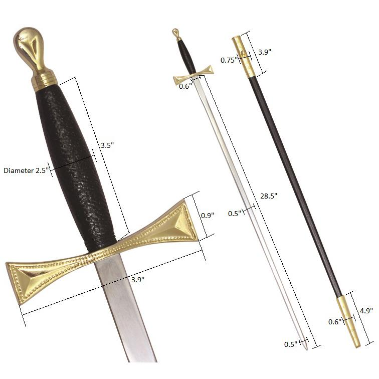 "Masonic Sword with Black Gold Hilt and Black Scabbard 35 3/4"" + Free Case - Bricks Masons"