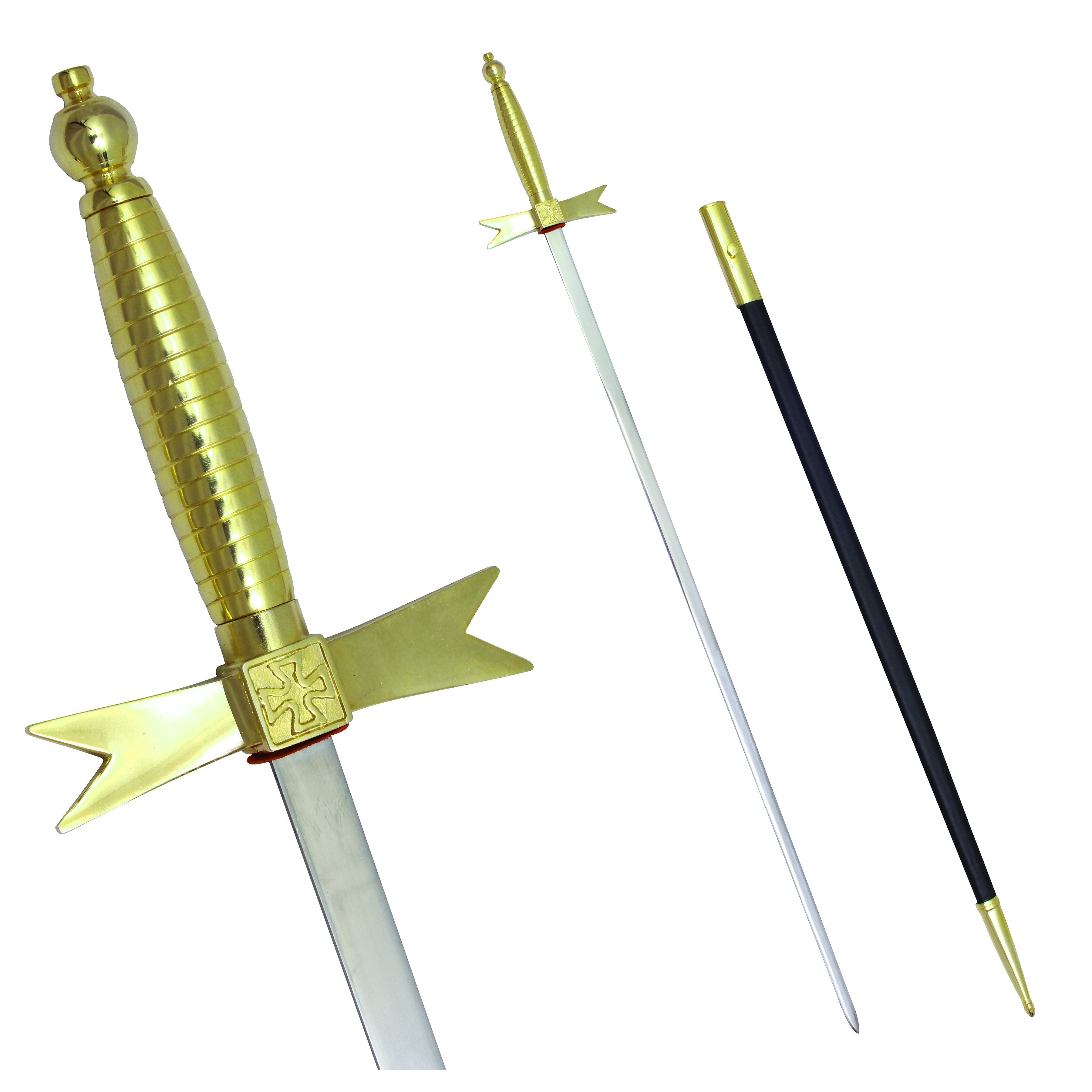 "Masonic Knights Templar Sword with Gold Hilt and Black Scabbard 35 3/4"" + Free Case - Bricks Masons"