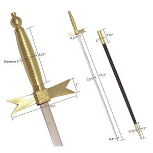 "Masonic Knights Templar Sword with Gold Hilt and Black Scabbard 35 3/4"" + Free Case"