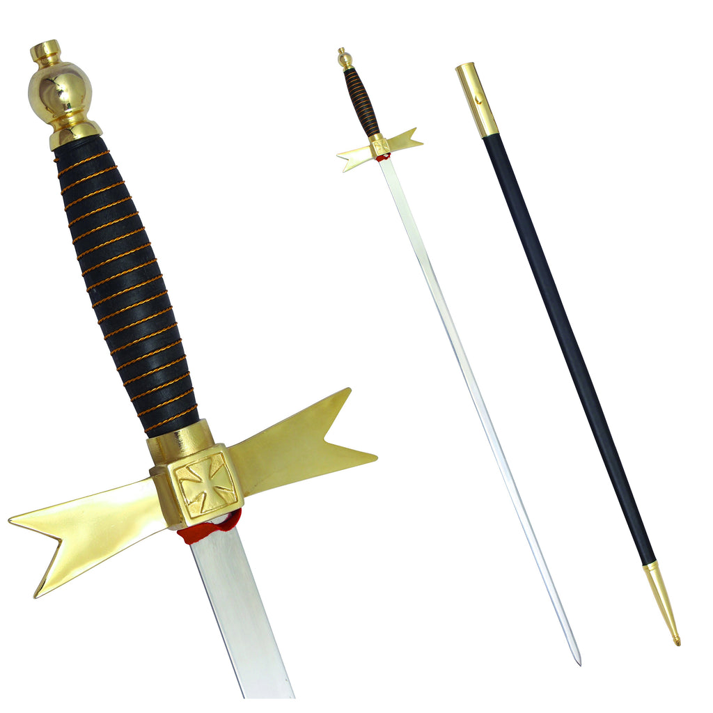 "Masonic Knights Templar Sword with Black Gold Hilt and Black Scabbard 35 3/4"" + Free Case - Bricks Masons"