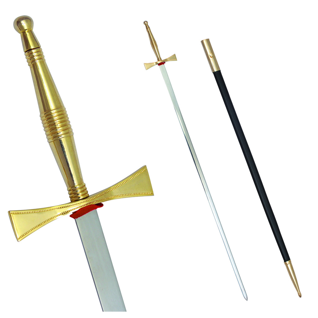 "Masonic Sword with Gold Hilt and Black Scabbard 35 3/4"" + Free Case - Bricks Masons"