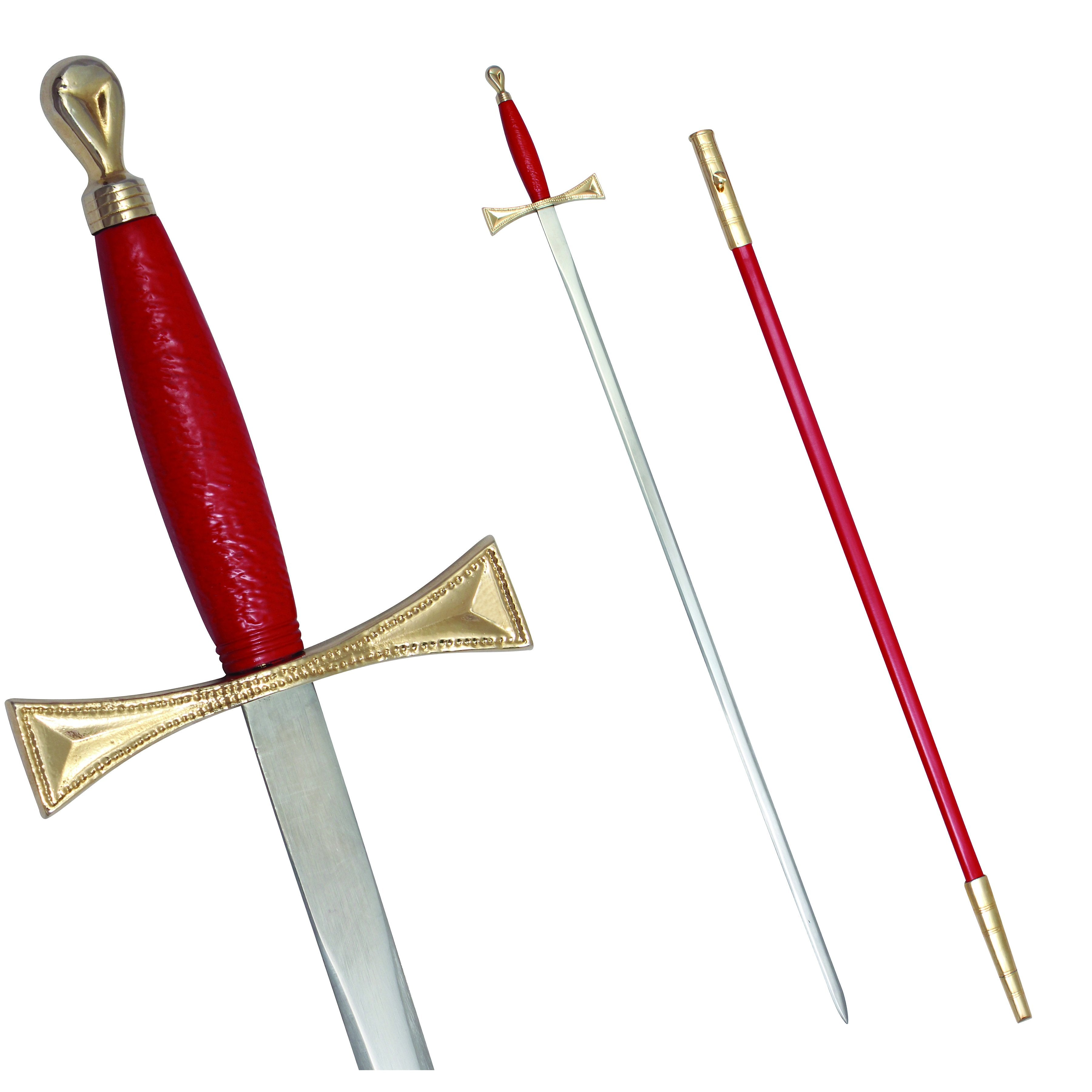 "Masonic Sword with Red Gold Hilt and Red Scabbard 35 3/4"" + Free Case"
