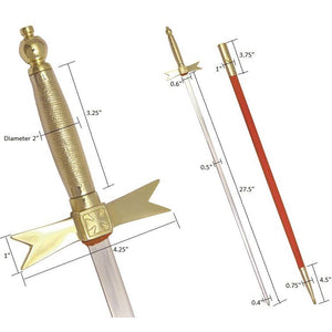 "Masonic Knights Templar Sword with Gold Hilt and Red Scabbard 35 3/4"" + Free Case - Bricks Masons"