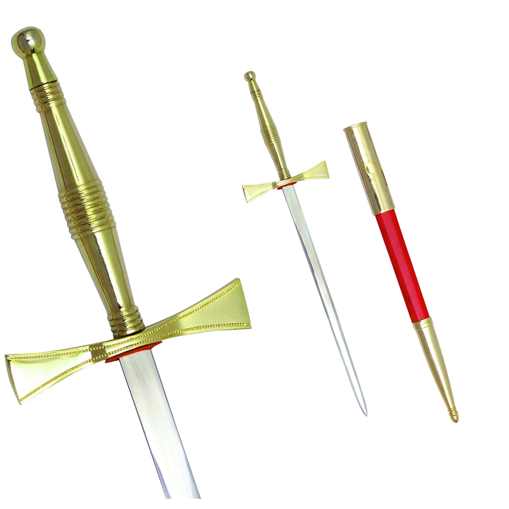 Masonic Dagger with Gold Hilt and Red Scabbard + Free Case - Bricks Masons
