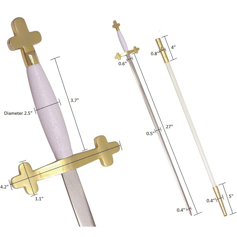 "Masonic Sword White Hilt and White Scabbard 35 3/4"" + Free Case"