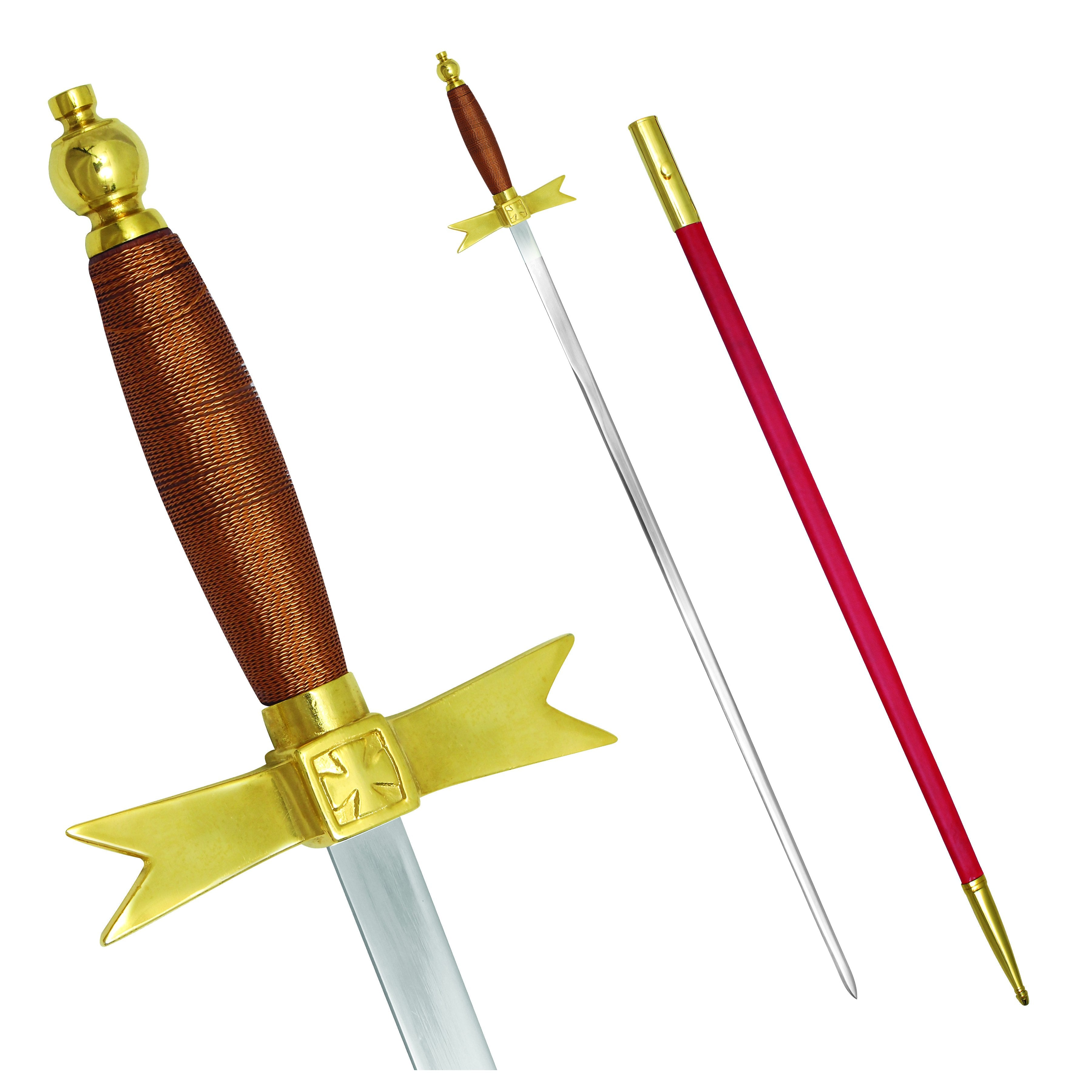"Masonic Knights Templar Sword with Brown Hilt and Red Scabbard 35 3/4"" + Free Case - Bricks Masons"