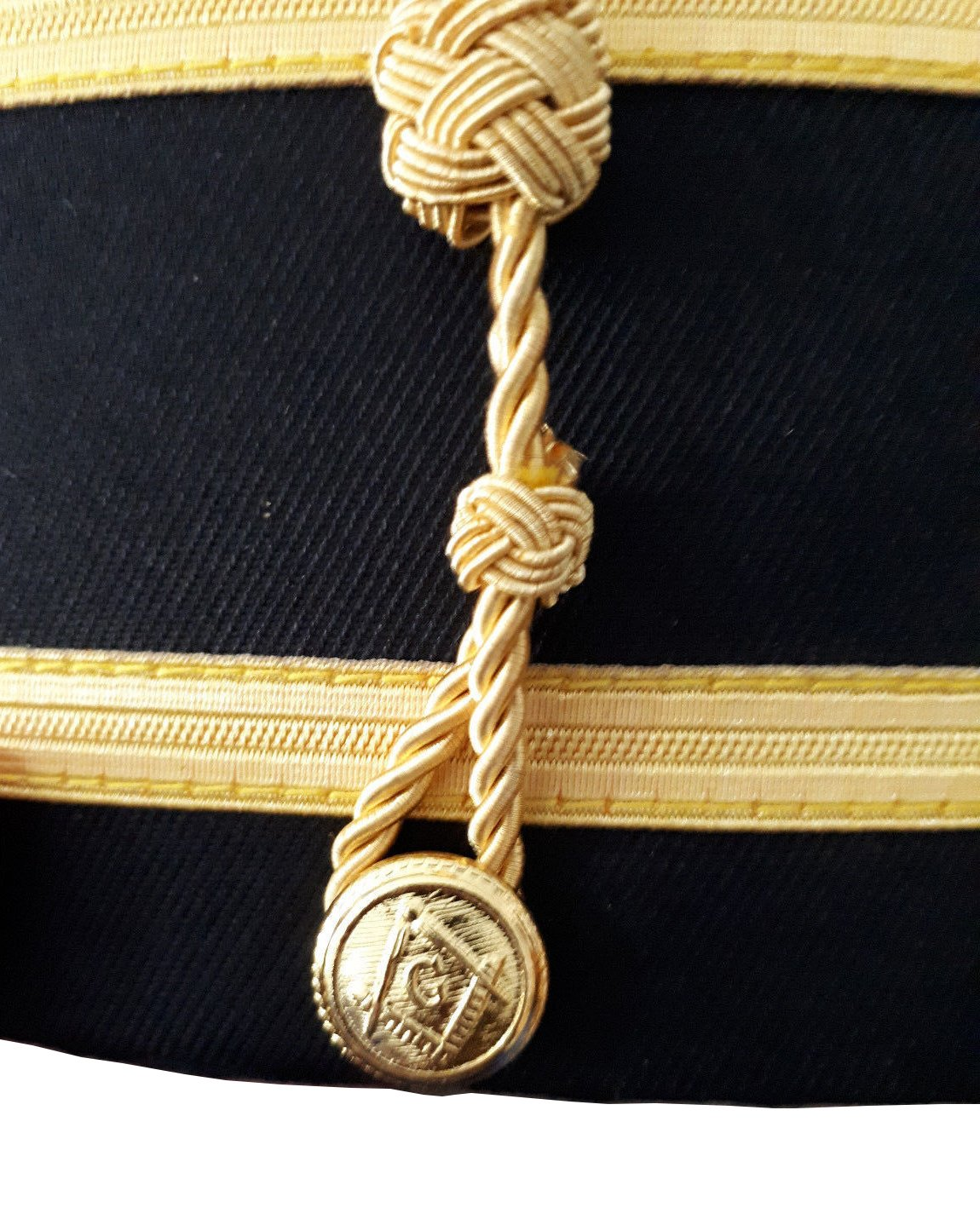 Masonic Knights Templar Red Cross Black Cap with Gold Braid - Bricks Masons