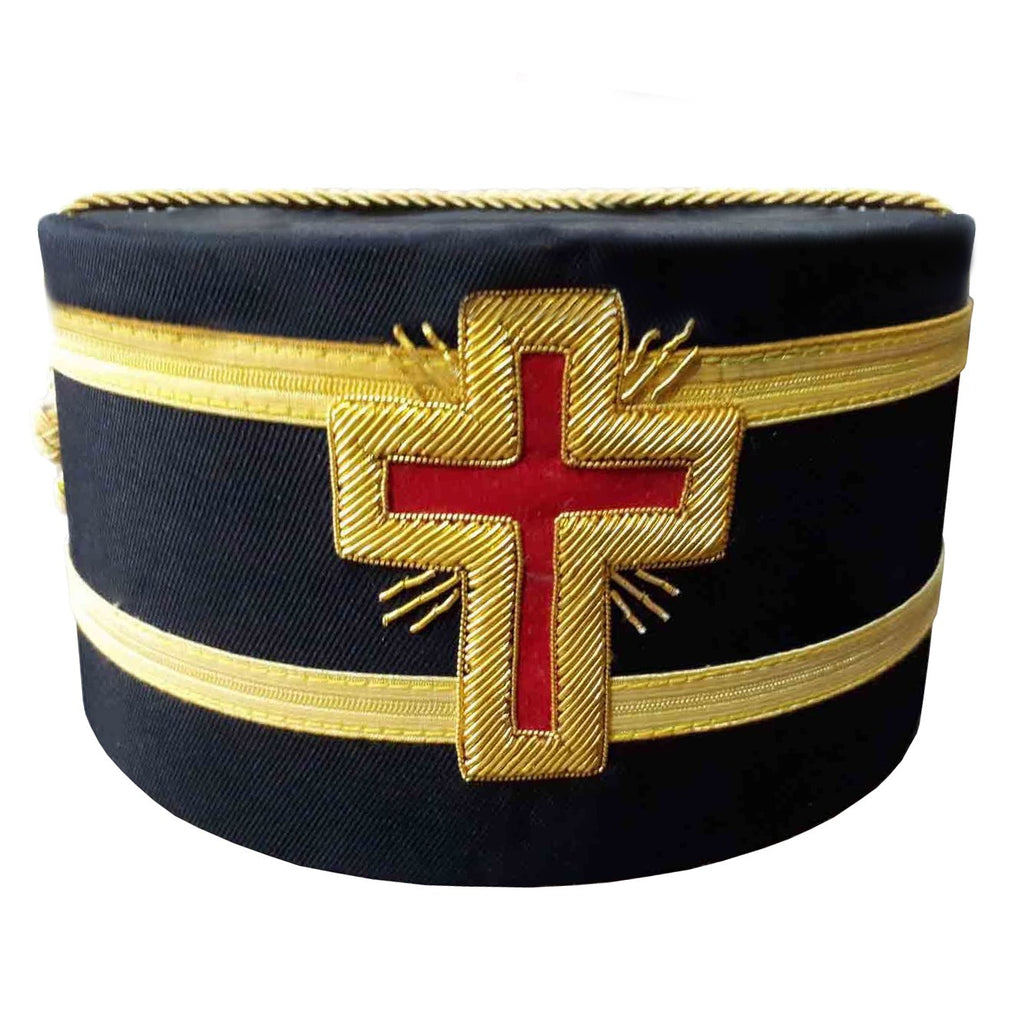 Masonic Knights Templar Red Cross Black Cap with Gold Braid