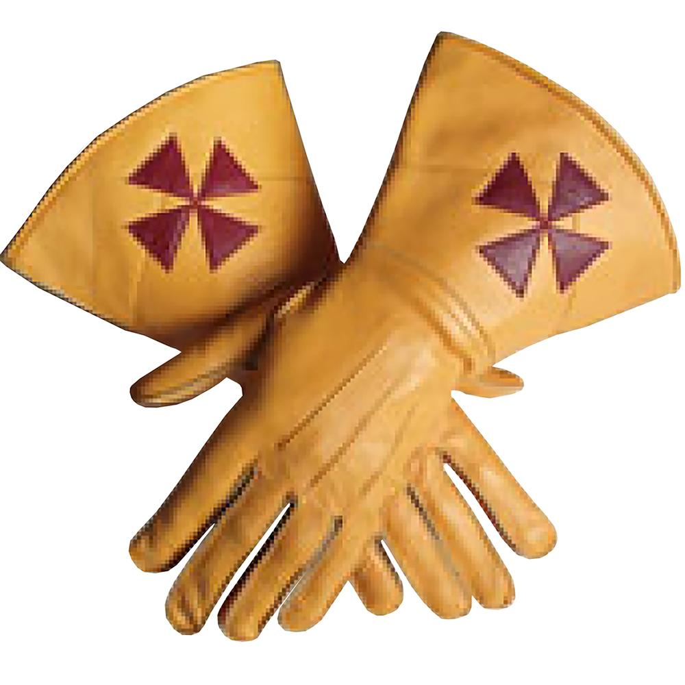 Knight Templar Yellow Color Gauntlets Red Cross Soft Leather Gloves - Bricks Masons
