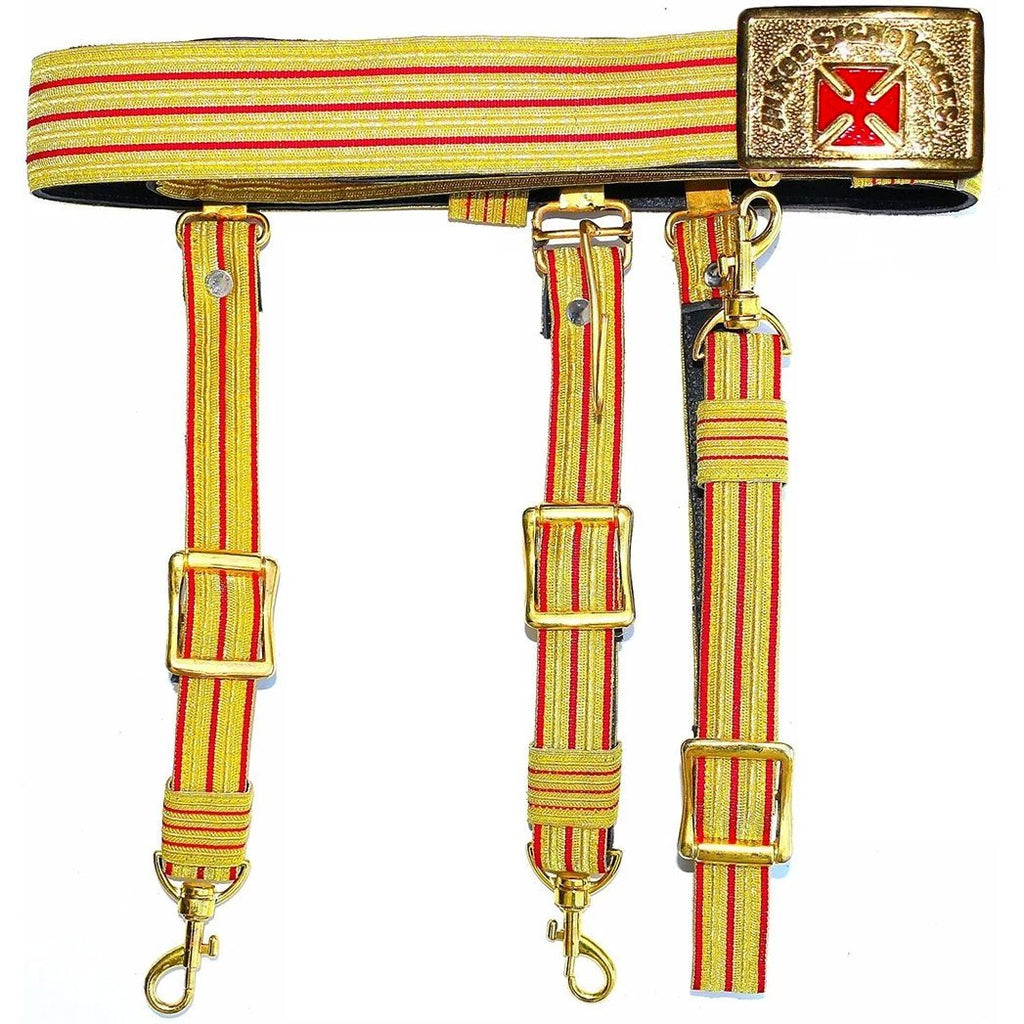 Knights Templar Past Grand Commander Red & Gold Sword Belt - Red Cross - Bricks Masons