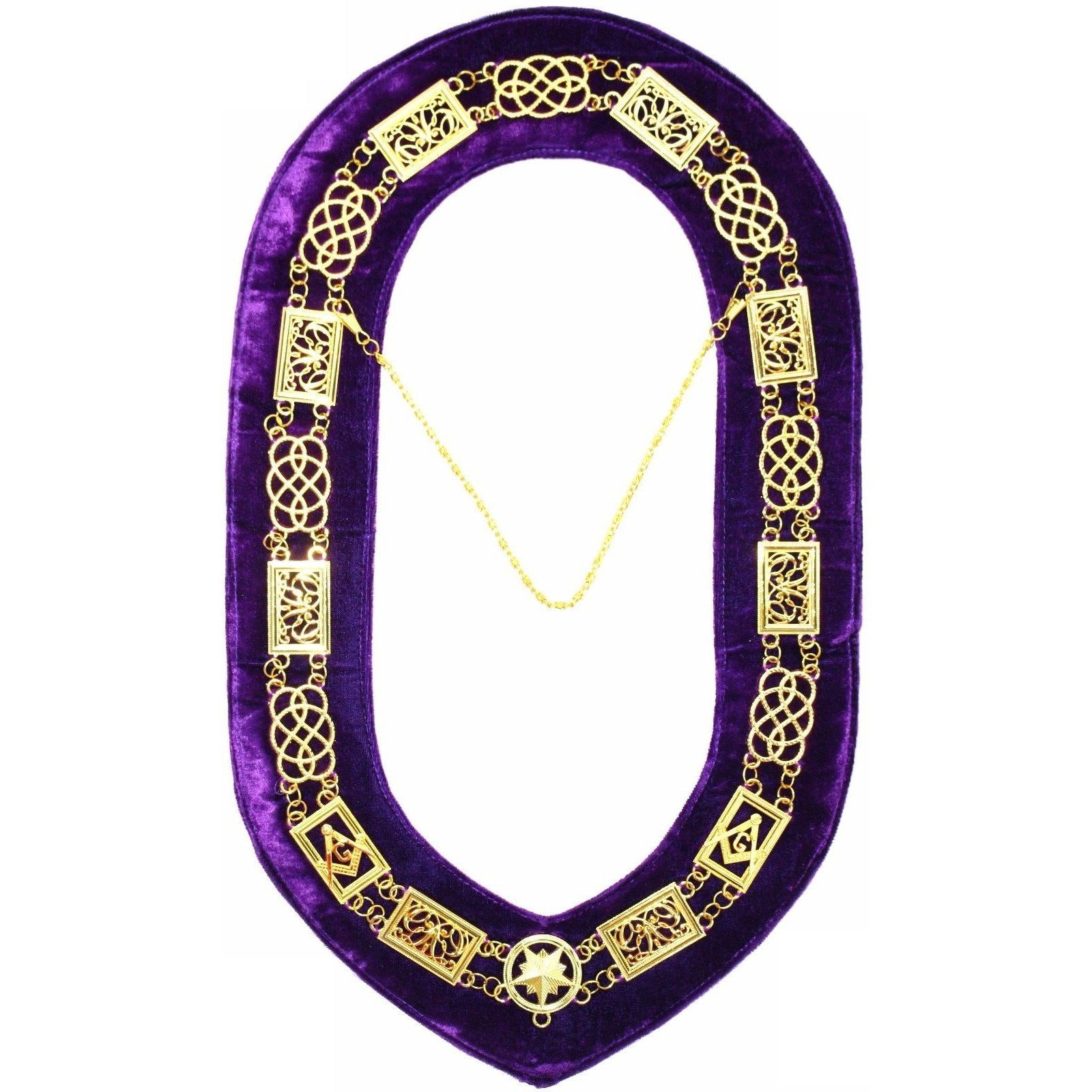 Grand Lodge - Chain Collar - Gold/Silver on Purple + Free Case - Bricks Masons