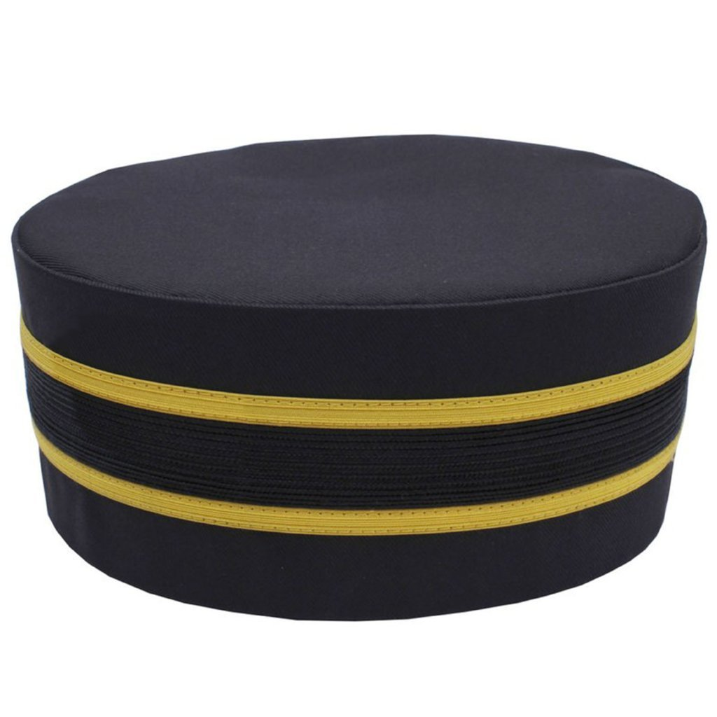 Masonic Black Cap with Gold Braid - Bricks Masons