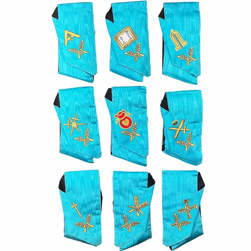 Masonic Officers Collars Set Of 9 Collars AASR Machine Embroidered - Bricks Masons
