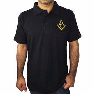 Classic Polo Shirt with Embroidered Square Compass & G [Multiple Colors] - Bricks Masons
