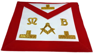 Masonic Hand Embroidered Bullion & Wire Made Master Mason Red Apron - Bricks Masons