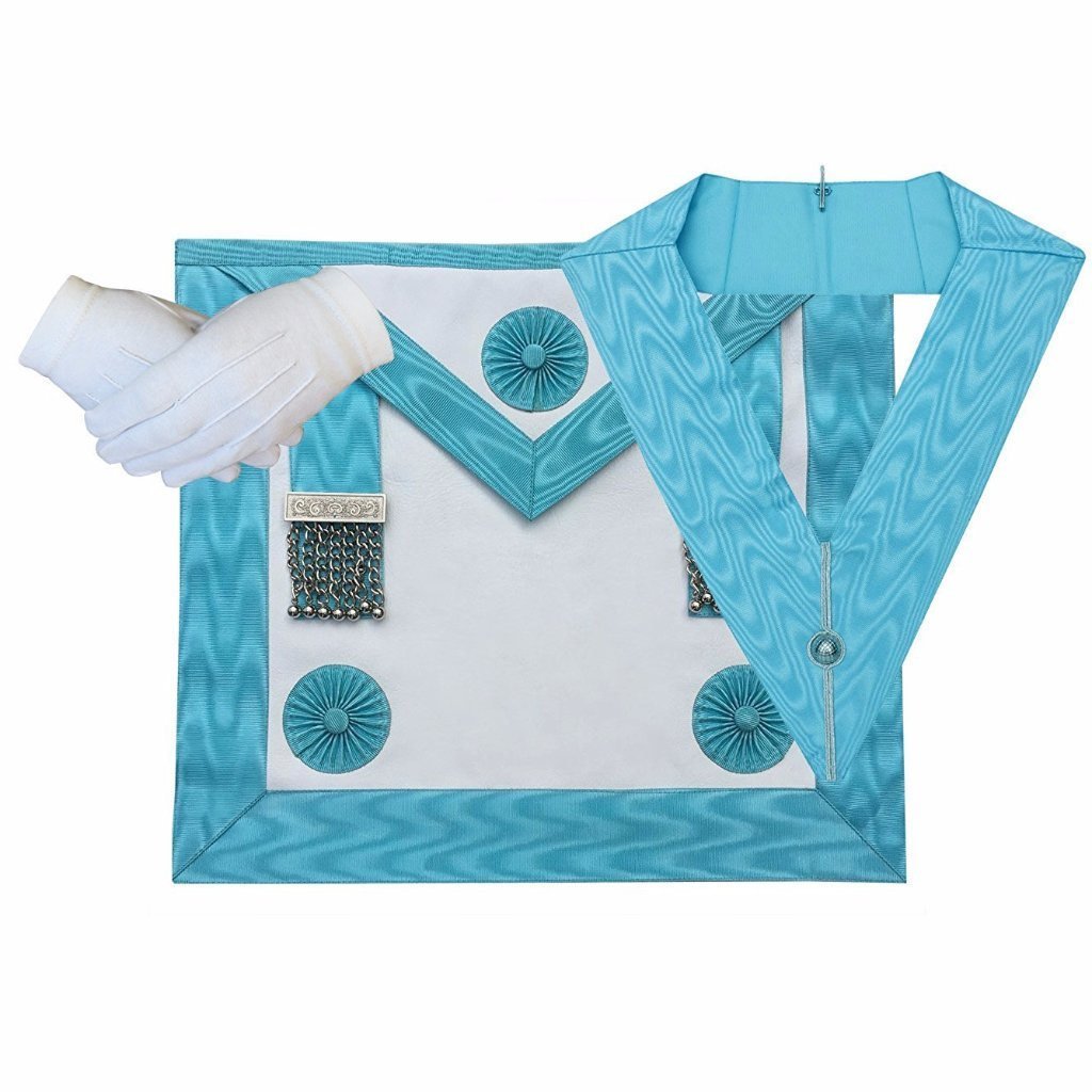 Masonic Regalia Craft Master masons MM Apron, Officer Collar and Glove - Bricks Masons
