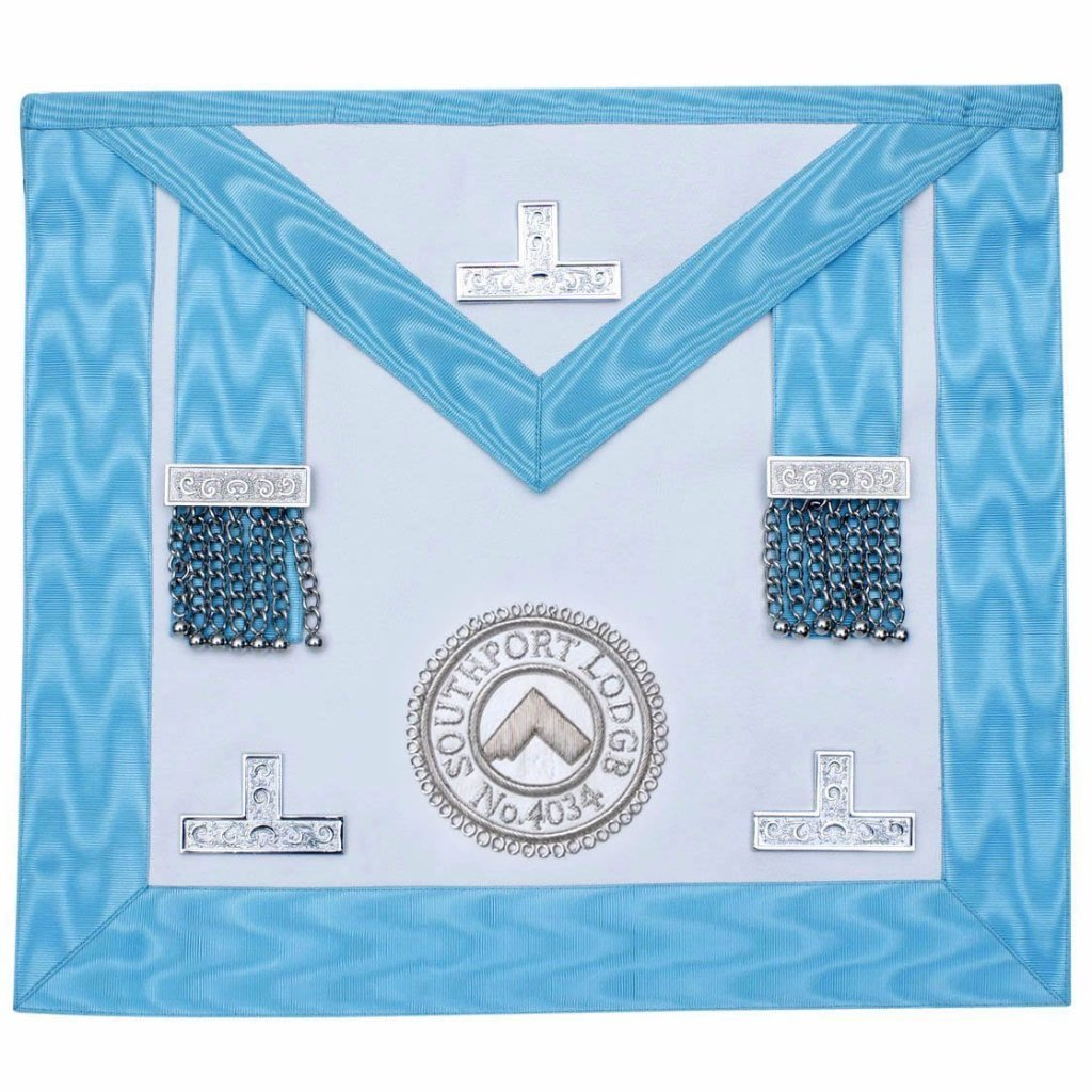 Worshipful Master Apron With Lodge Logo - Bricks Masons