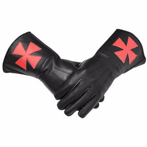 Knight Templar Black Gauntlets Red Cross Soft Leather Gloves - Bricks Masons