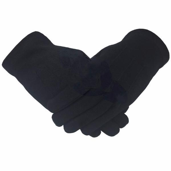 Masonic Knight Templar Plain 100% Cotton Glove Black - Bricks Masons