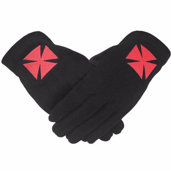Masonic Knight Templar Black 100% Cotton Machine Embroidery Glove - Bricks Masons
