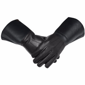 Masonic Piper Drummer Leather Gauntlets/Gloves Black Soft Leather Knight Templar - Bricks Masons