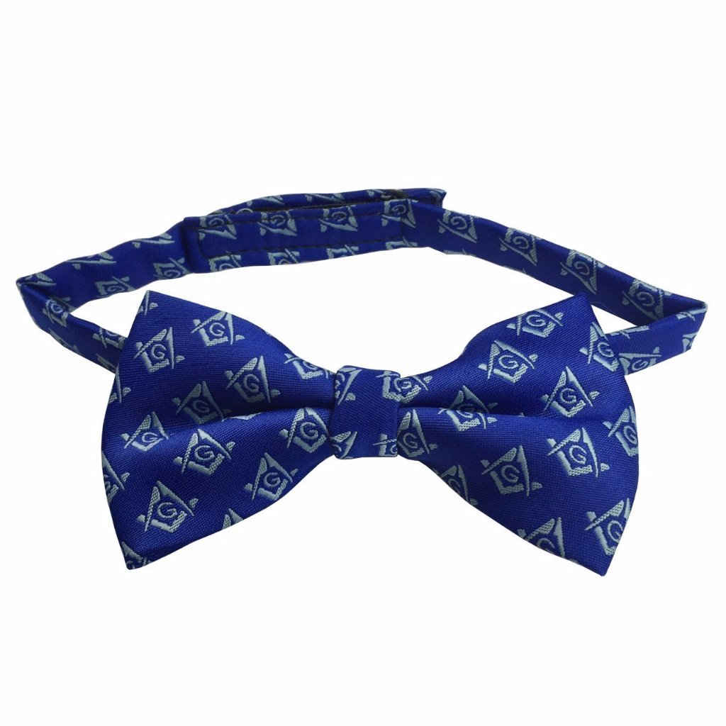 High Quality Masonic Bow Tie with Square Compass with G Blue - Bricks Masons