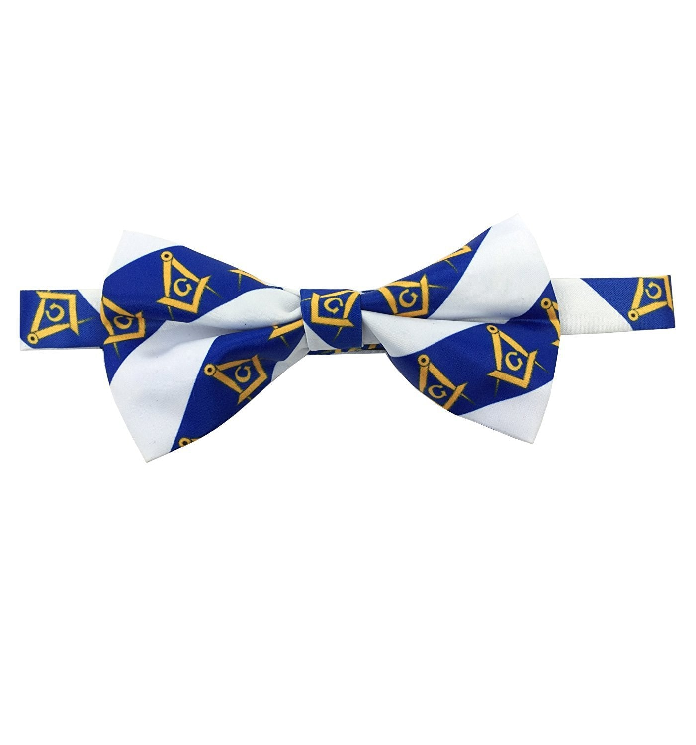 High Quality 100% Silk Masonic Bow Tie White and Blue - Bricks Masons