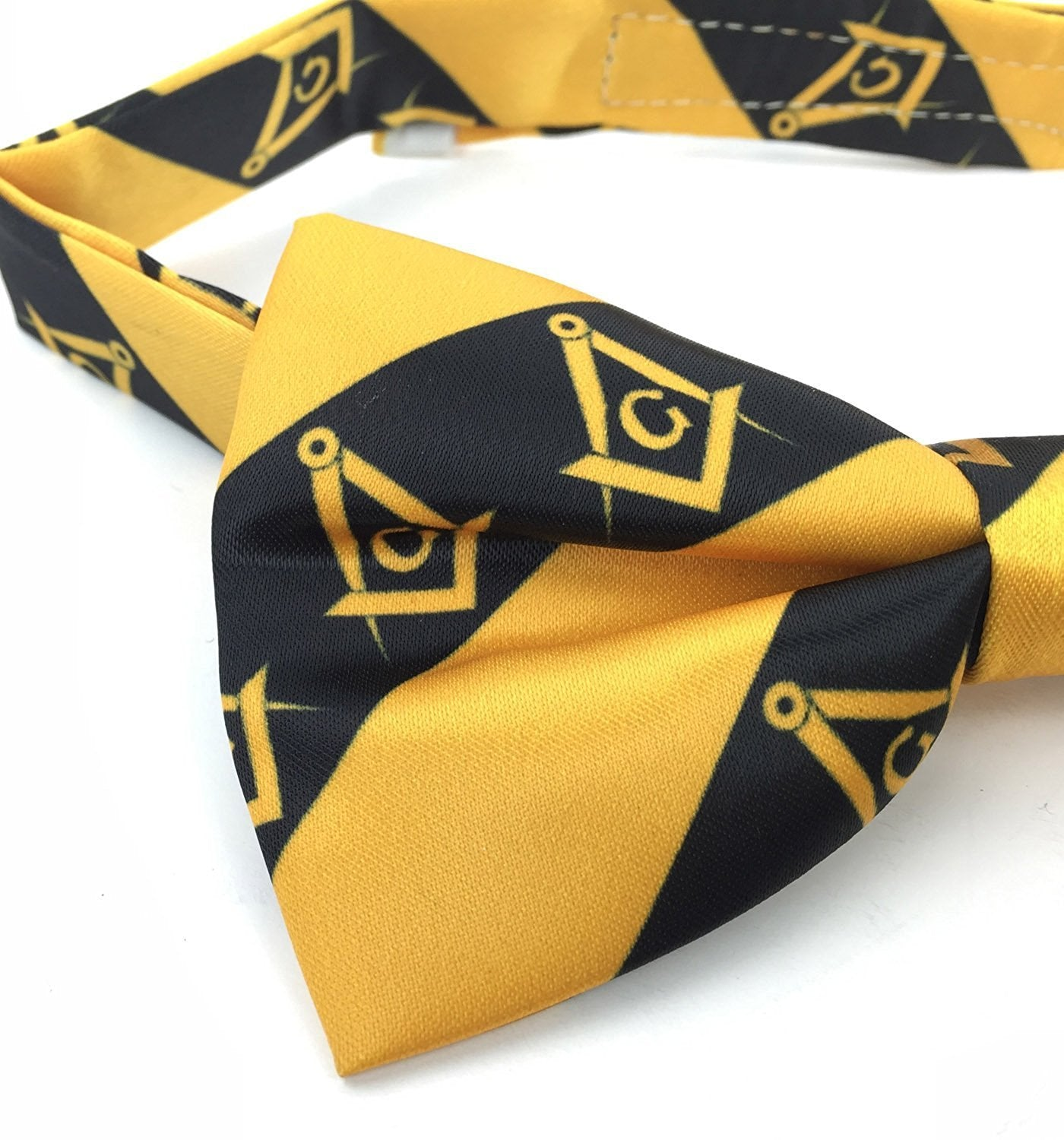 High Quality 100% Silk Masonic Bow Tie Yellow and Black - Bricks Masons