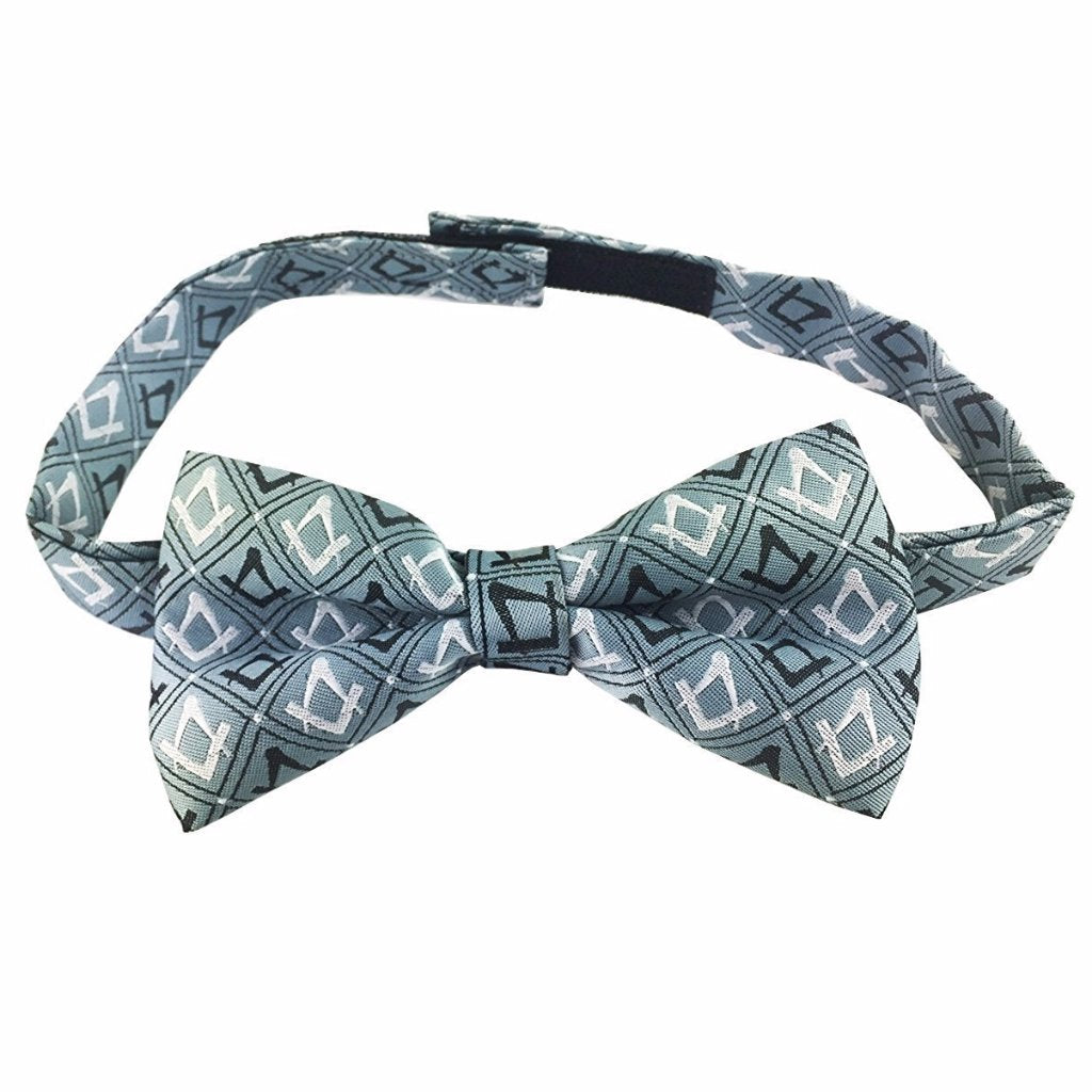Masonic 100% Silk Woven Craft Bow Tie with Square Compass Green - Bricks Masons