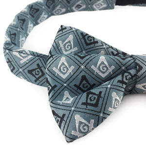 Masonic 100% Silk Woven Craft Bow Tie with Square Compass & G Green - Bricks Masons