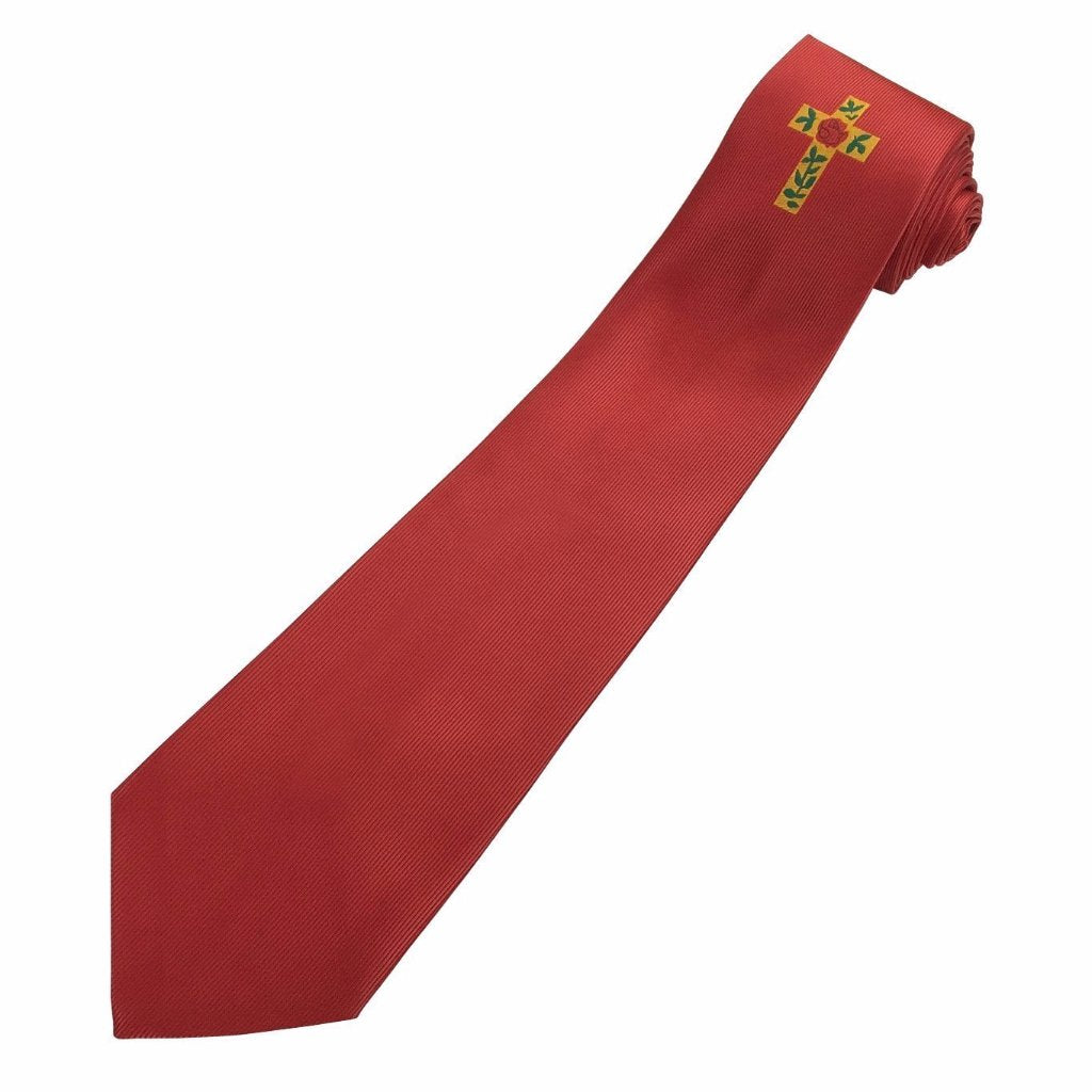 Masonic 100% silk Rose Croix Degree Tie Red with logo - Bricks Masons