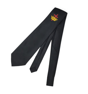 Masonic Knight Templar Black Silk Tie with Embroidered Logo - Bricks Masons