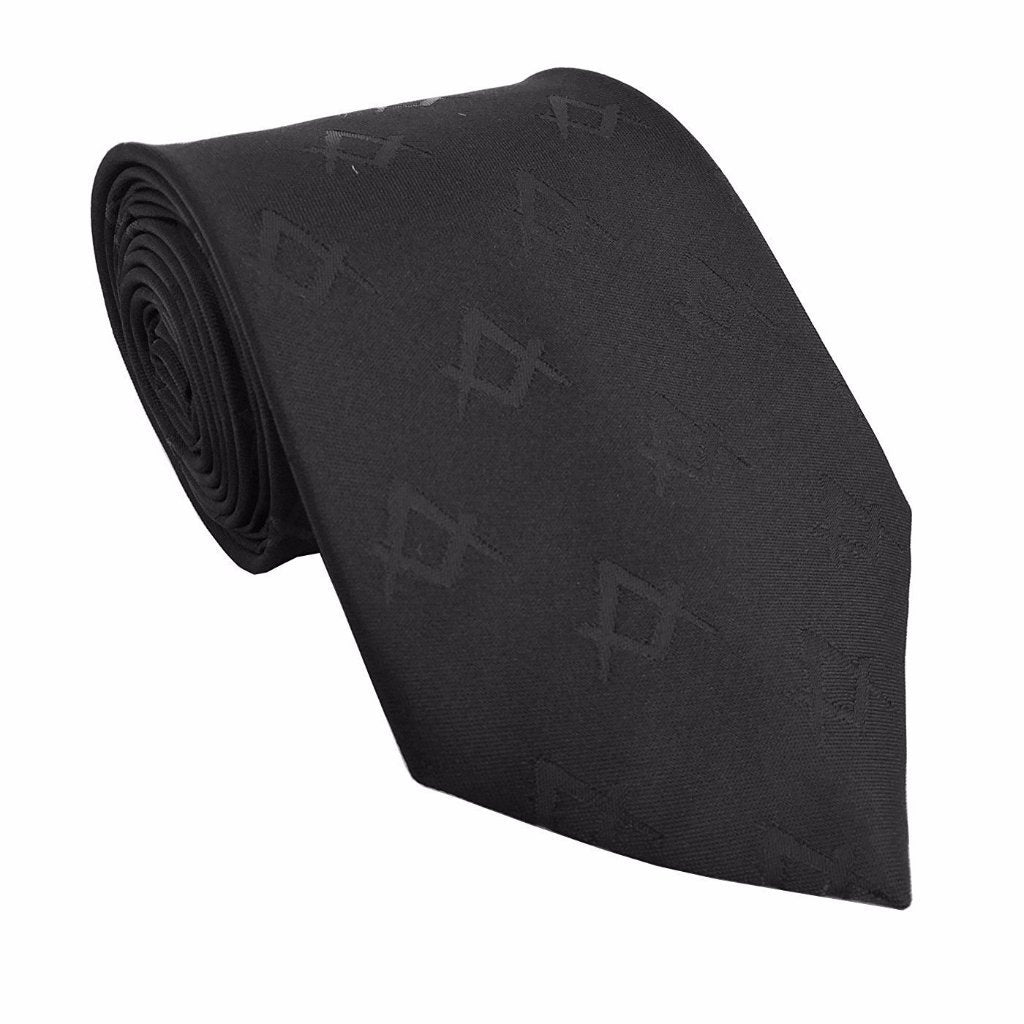 Masonic Masons Silk Tie with self print Square Compass Black - Bricks Masons