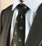 Masonic Regalia Craft Masons Silk Tie Embroided Square Compass & G Lodge Gift - Bricks Masons