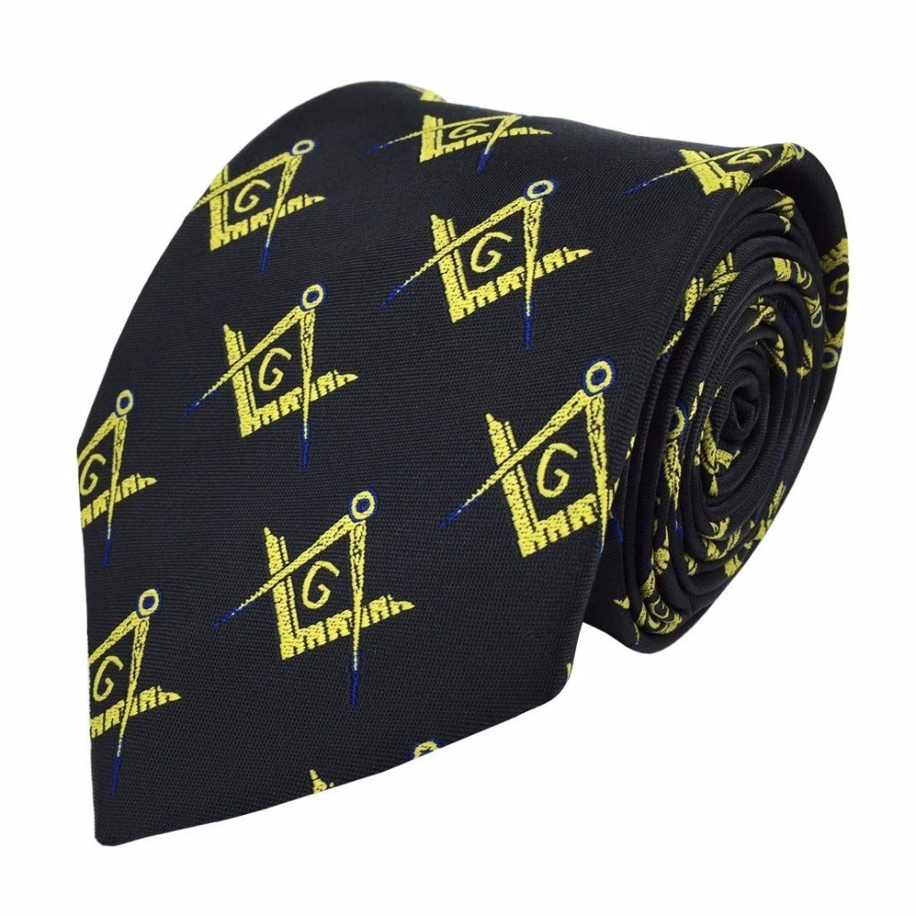 Masonic Regalia Craft Masons Silk Tie with Square Compass & G Lodge Gift - Bricks Masons