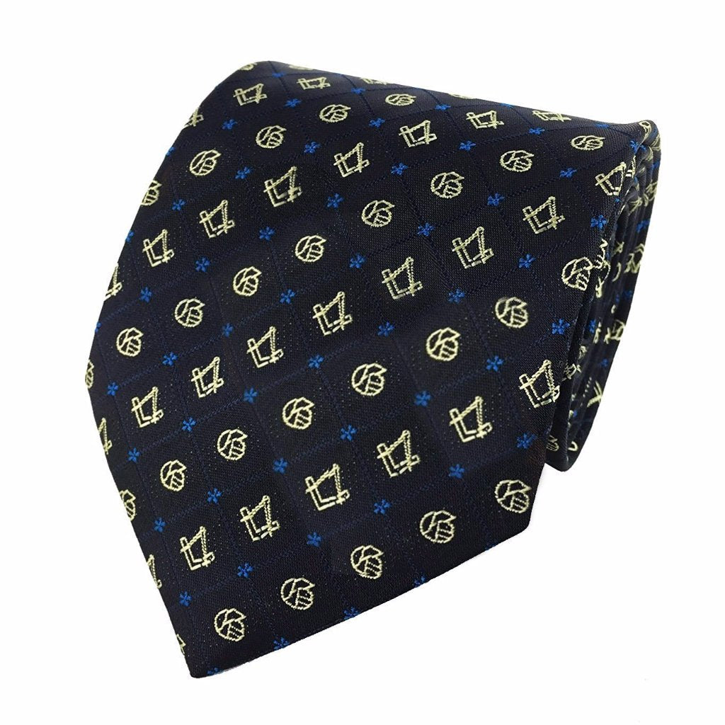 Masonic Regalia Forget Me Not Tie with Square and Compass - Bricks Masons