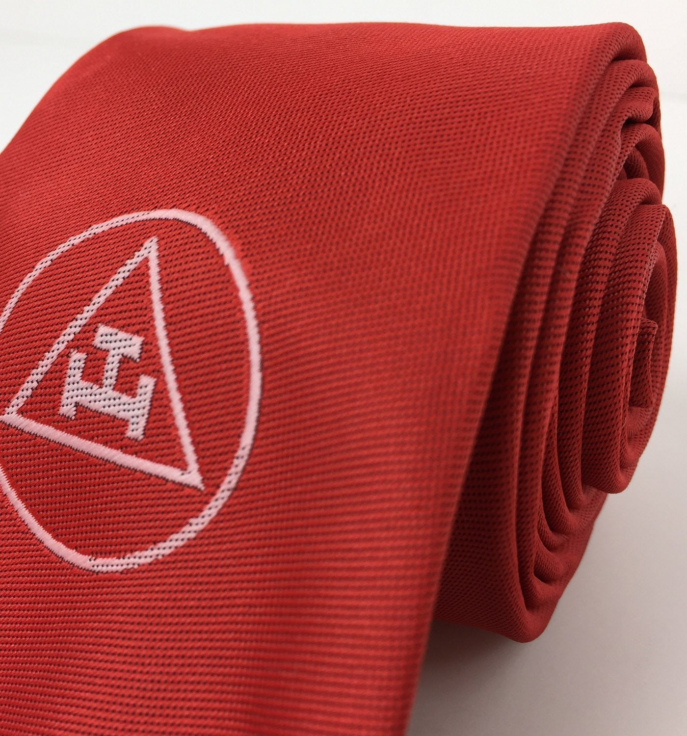 Masonic Royal Arch Red Silk Tie with embroided Logo RA Regalia - Bricks Masons