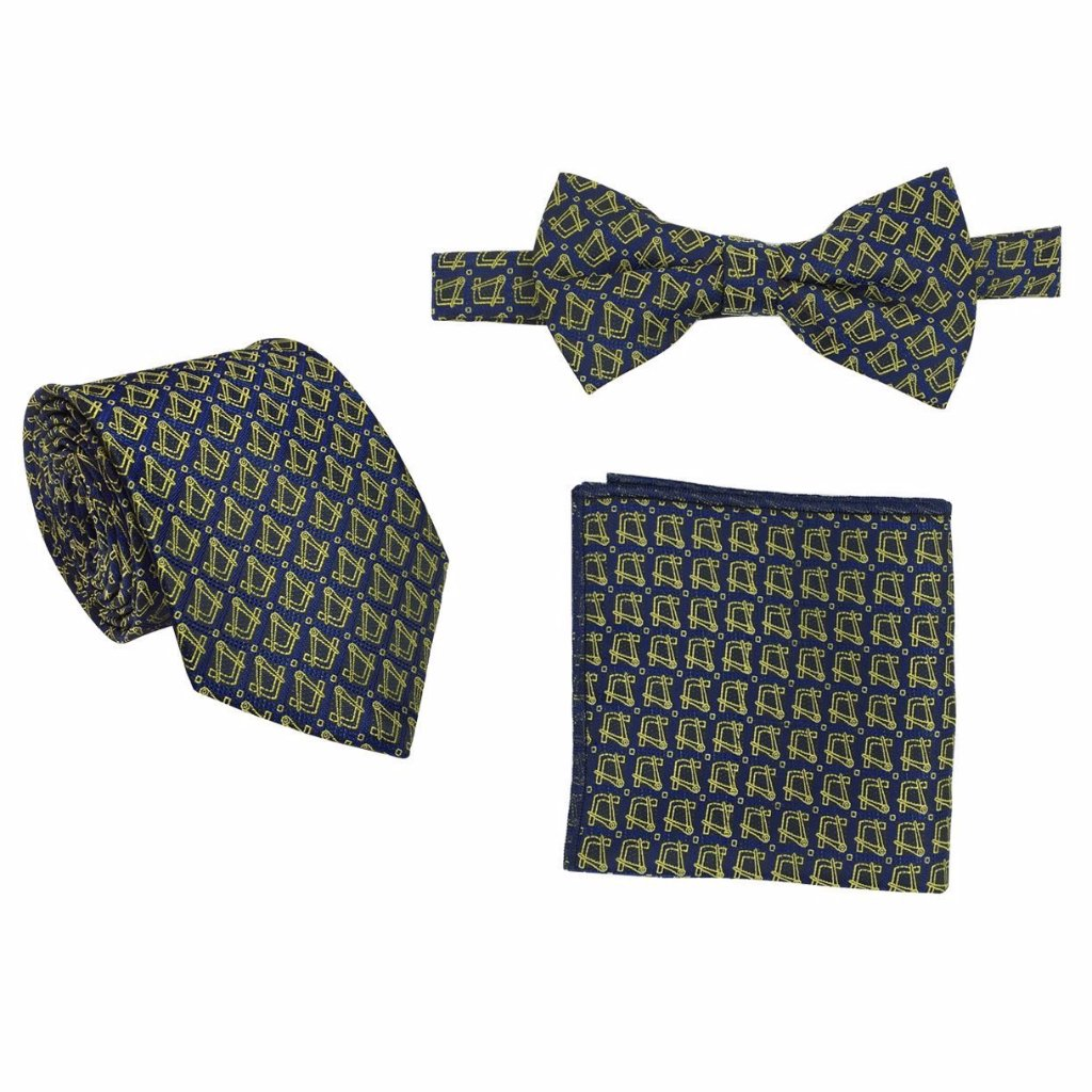 Masonic Regalia Tie, Bow Tie and Handkerchief Set - Bricks Masons