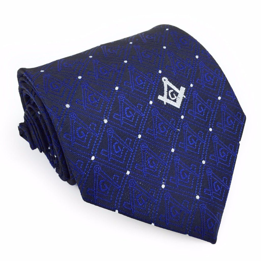 Masonic Tie with Square Compass with G - Bricks Masons