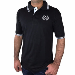 Polo Shirt with Square Compass Embroidery Logo [Black, Grey, Blue] - Bricks Masons