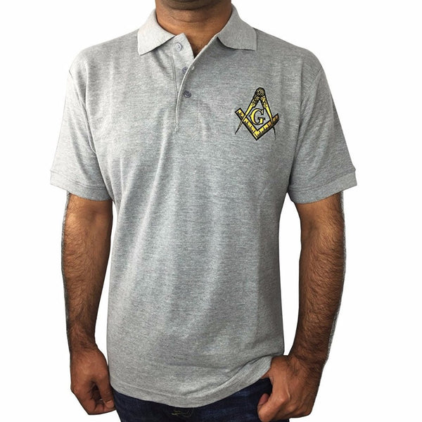 3bc224eb Classic Polo Shirt with Embroidered Square Compass & G [Multiple Colors] -  Bricks Masons ...