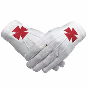 Masonic Knight Templar Red Nordic Cross White Cotton Machine Embroidery Glove - Bricks Masons