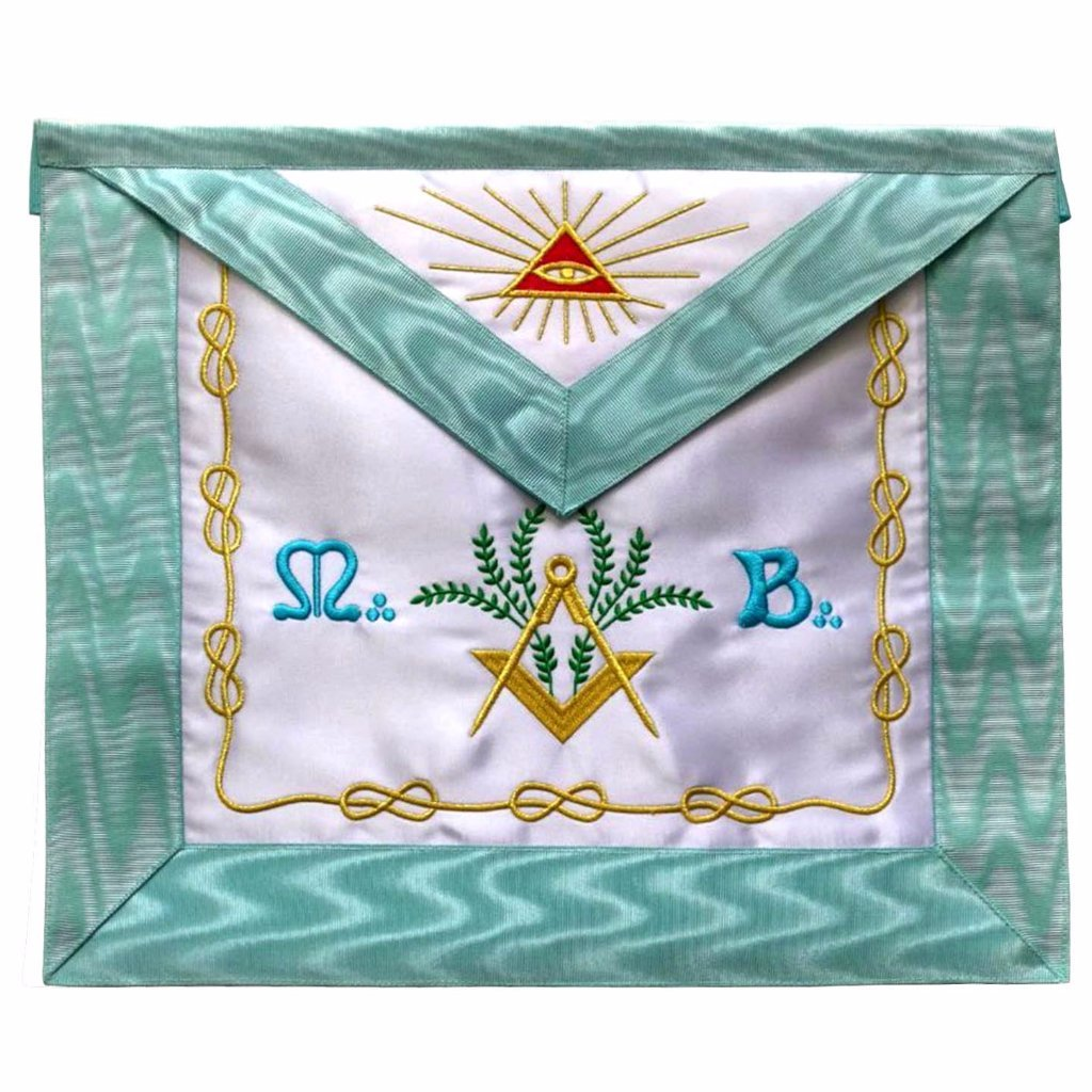 Master Mason French Rite / Modern Rite Pyramid Eye Silk Apron - Sky Blue - Bricks Masons