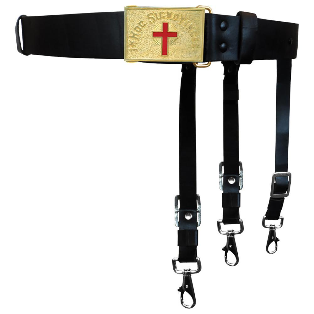 Knights Templar Past Commander Leather Sword Belt - Bricks Masons