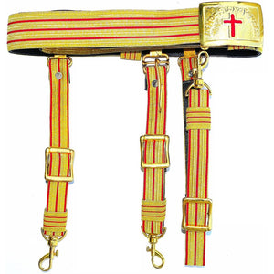 Knights Templar Past Commander Red & Gold Sword Belt - Bricks Masons