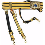 Knights Templar Past Grand Commander Black & Gold Sword Belt - Blue Cross