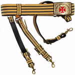 Knights Templar Past Grand Commander Black & Gold Sword Belt - Red Cross