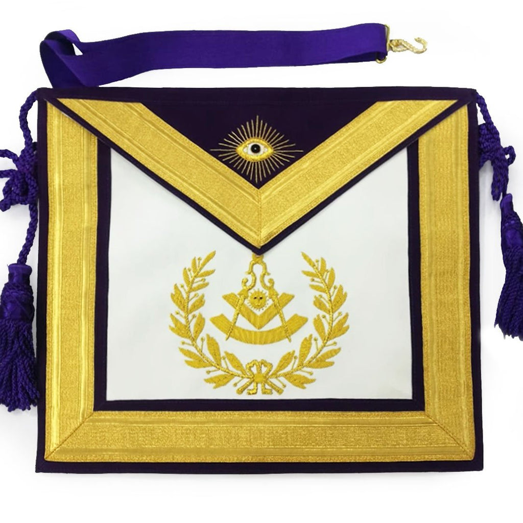 Masonic Past Master Gold & Purple Hand Embroidered Apron - Bricks Masons