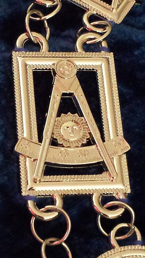 Past Master chain Collar - Gold/Silver on Blue + Free Case - Bricks Masons