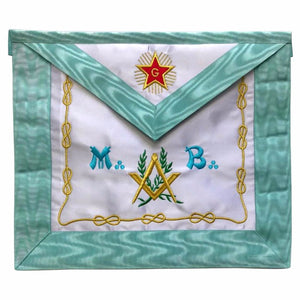 Master Mason French Rite / Modern Rite Star G Silk Apron - Sky Blue - Bricks Masons